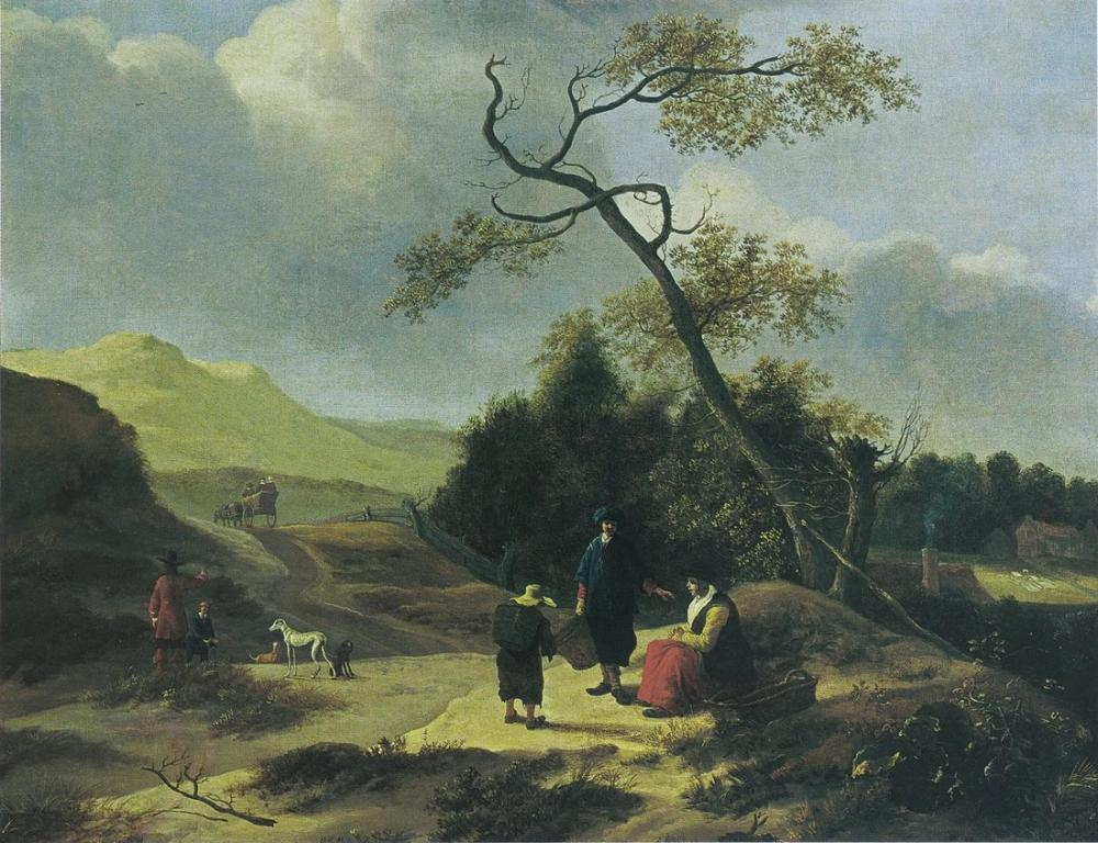 Aelbert Cuyp, Jan Baptist Wolfaerts Landscape with Hunters and Resting Travelers, Canvas, Aelbert Cuyp, kanvas tablo, canvas print sales