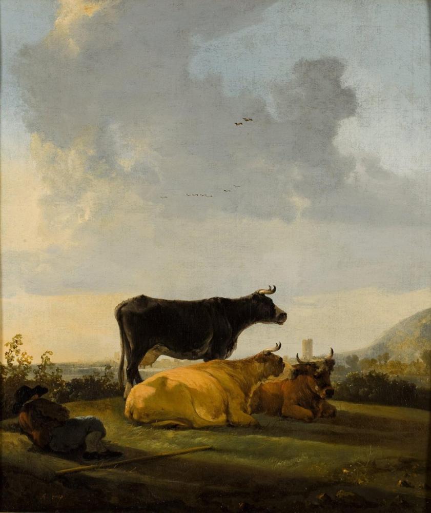 Aelbert Cuyp, Akşam Güneşi Üç İnek ve Yalancı Çoban Çocukla Manzara, Kanvas Tablo, Aelbert Cuyp