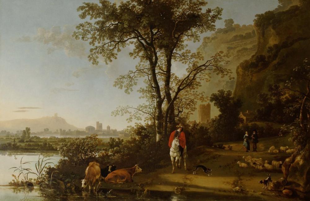 Aelbert Cuyp, Süvari Figürleri ve Sığır Manzara, Kanvas Tablo, Aelbert Cuyp