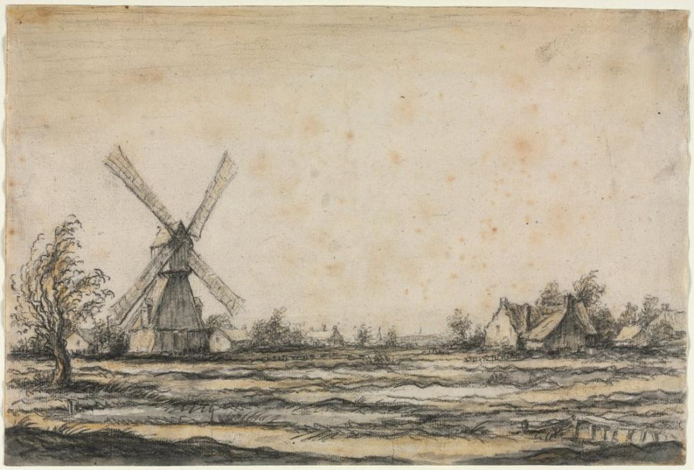Aelbert Cuyp, Bir Çiftlik Yakınındaki Bir Yel Değirmeni ile Peyzaj, Kanvas Tablo, Aelbert Cuyp