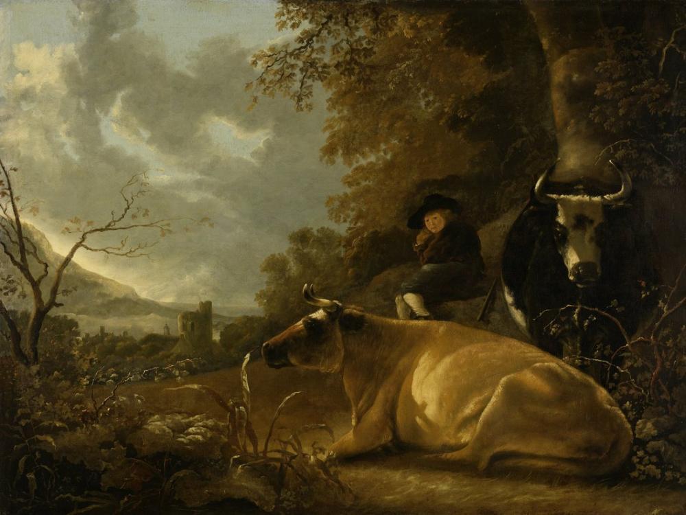 Aelbert Cuyp, Manzara ile İnek ve Çoban Çocuk, Kanvas Tablo, Aelbert Cuyp