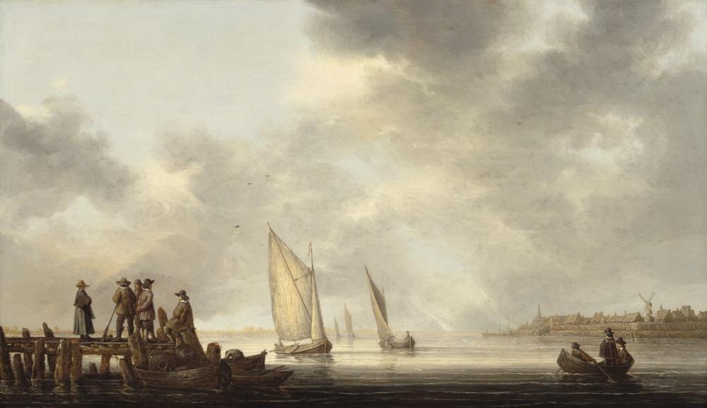 Aelbert Cuyp, A Pier Overlooking Dordrecht, Canvas, Aelbert Cuyp