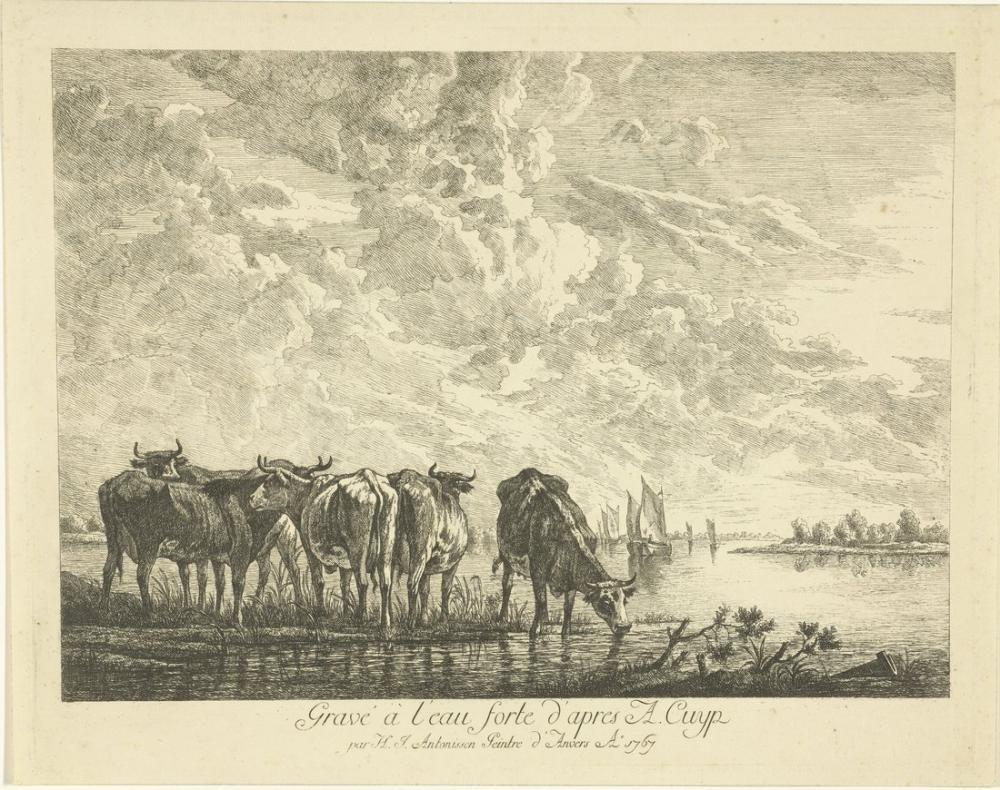 Aelbert Cuyp, Bir Nehir Beş İnek ile Manzara, Kanvas Tablo, Aelbert Cuyp