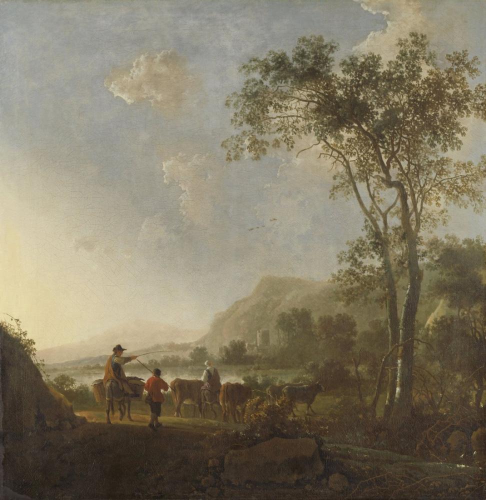 Aelbert Cuyp, Çoban ve Sığır ile Manzara, Kanvas Tablo, Aelbert Cuyp, kanvas tablo, canvas print sales