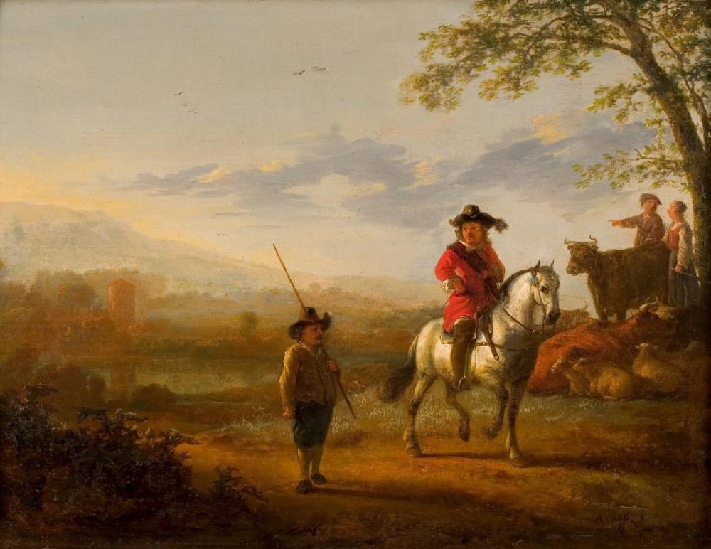 Aelbert Cuyp, Süvari Çobanları ve Sığır ile Manzara, Kanvas Tablo, Aelbert Cuyp