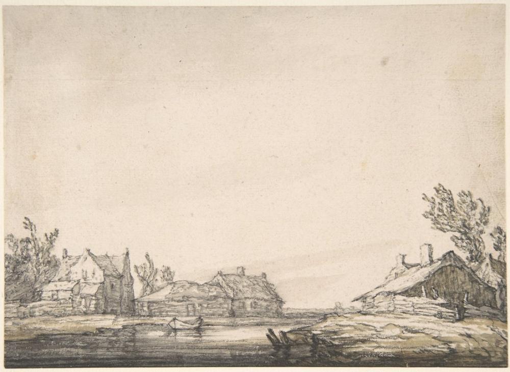 Aelbert Cuyp, Landscape with Houses, Canvas, Aelbert Cuyp, kanvas tablo, canvas print sales