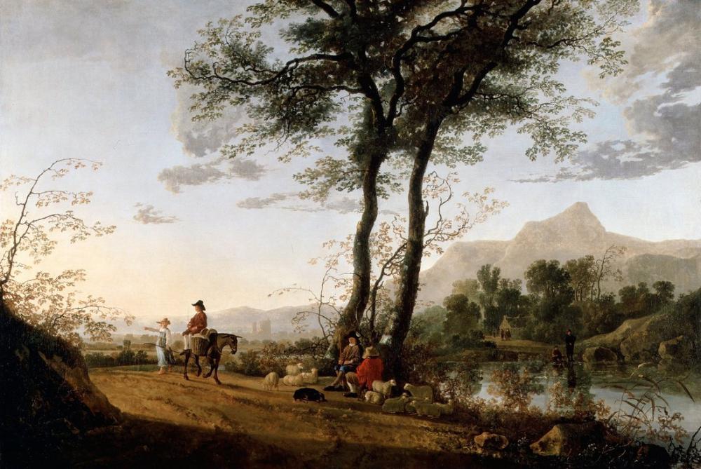 Aelbert Cuyp, A Road near A River, Canvas, Aelbert Cuyp, kanvas tablo, canvas print sales