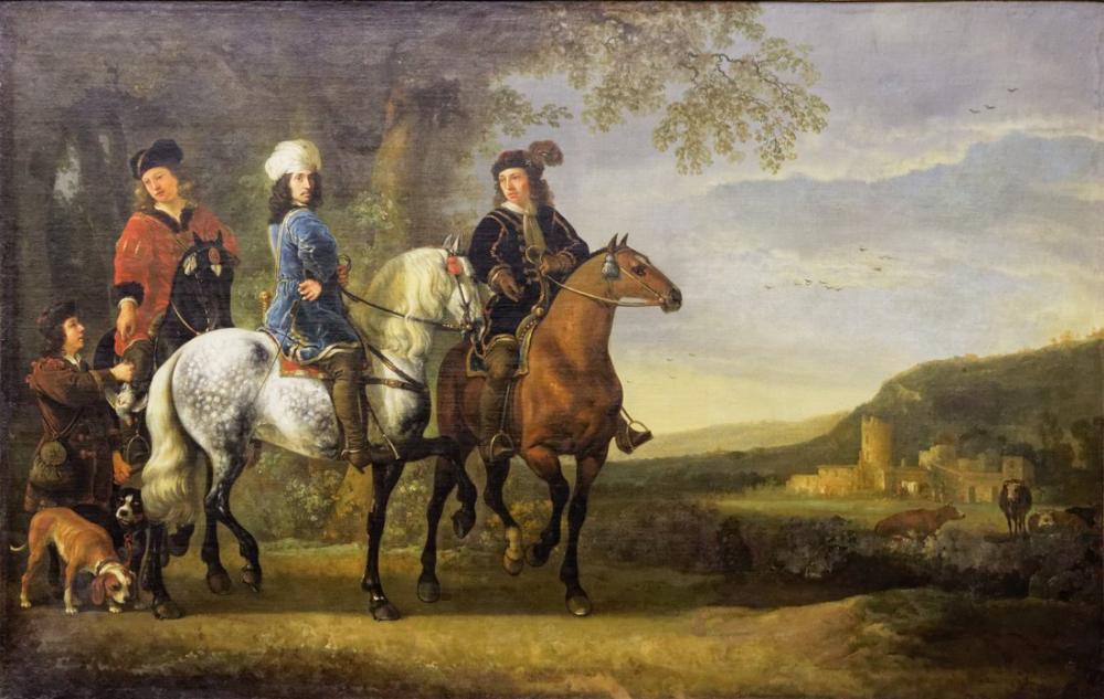 Aelbert Cuyp, Landscape with Three Horsemen, Canvas, Aelbert Cuyp, kanvas tablo, canvas print sales