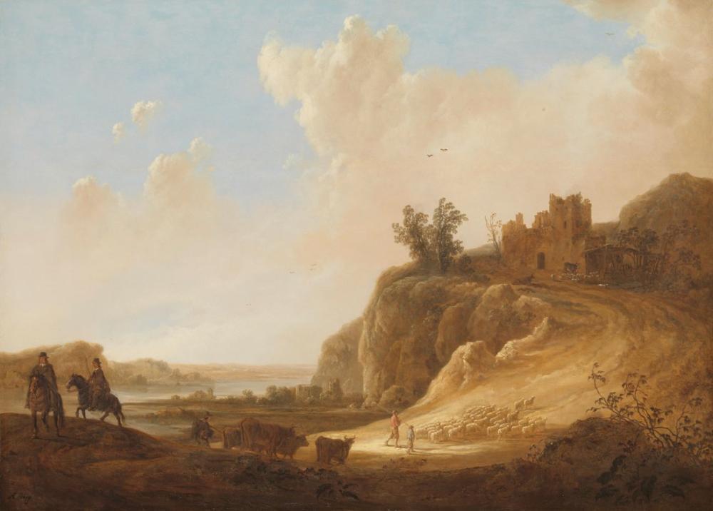 Aelbert Cuyp, Kalıntılar ile Dağlık Manzara, Kanvas Tablo, Aelbert Cuyp