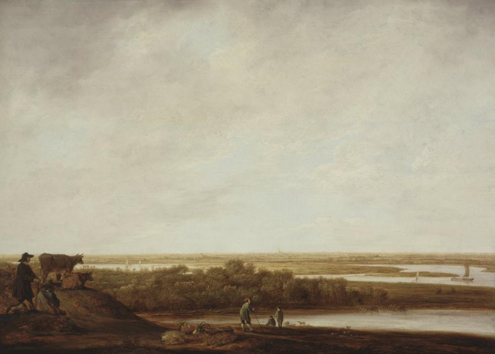 Aelbert Cuyp, Çobanlar ile Panoramik Manzara, Kanvas Tablo, Aelbert Cuyp