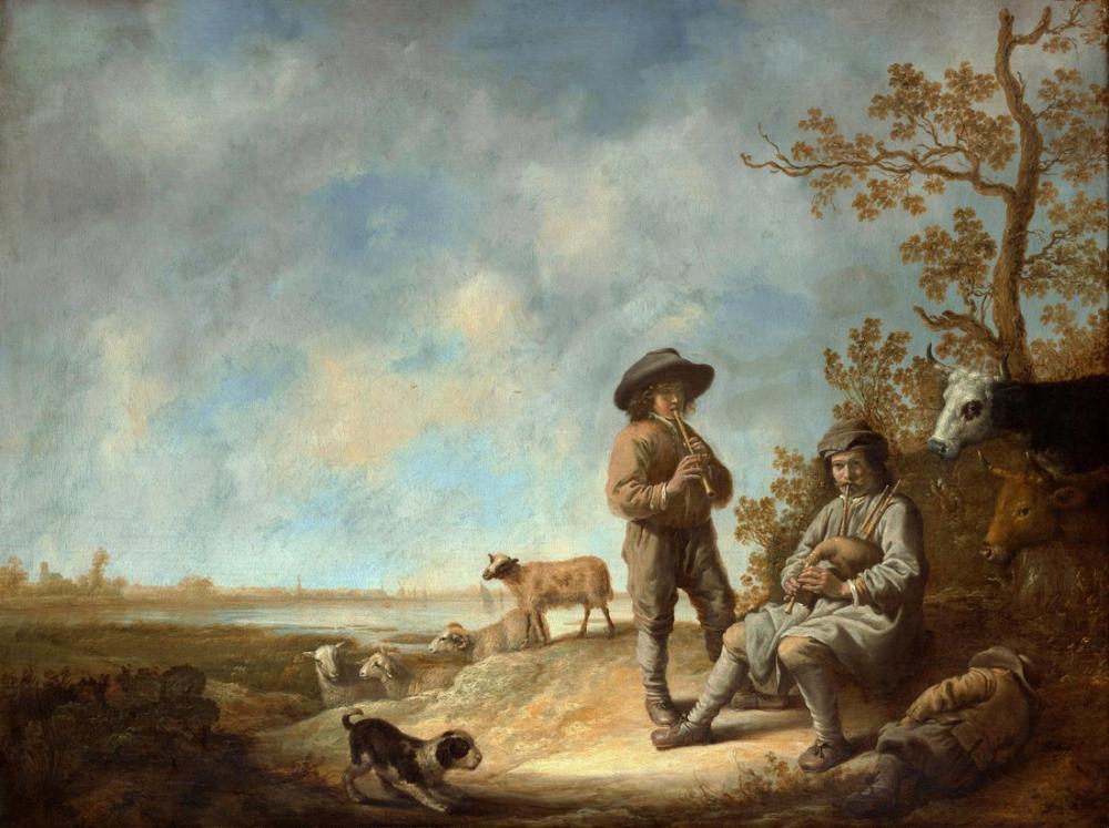 Aelbert Cuyp, Üfleyerek Ses Çıkaran Çobanlar, Kanvas Tablo, Aelbert Cuyp