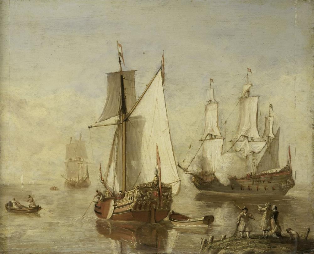 Aelbert Cuyp, Play Yacht and Warship, Canvas, Aelbert Cuyp, kanvas tablo, canvas print sales