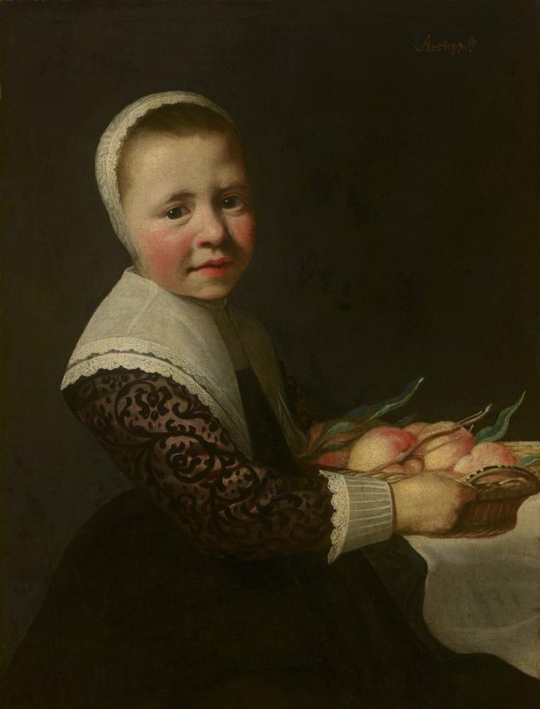 Aelbert Cuyp, Şeftali ile Bir Kız Portresi, Kanvas Tablo, Aelbert Cuyp