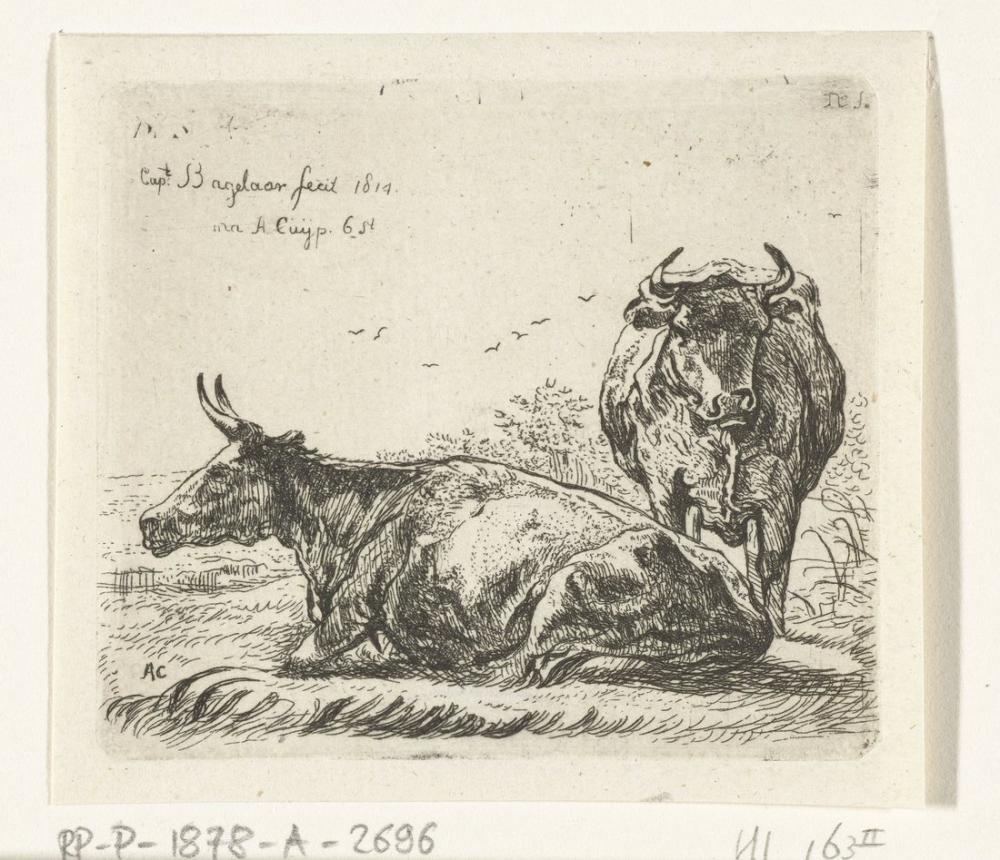 Aelbert Cuyp, Uzanmış ve Ayakta İnek, Kanvas Tablo, Aelbert Cuyp