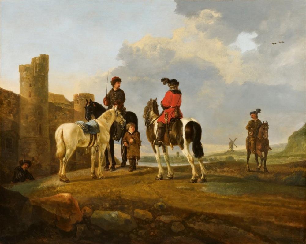Aelbert Cuyp, Burg Ubbergen ile Dinlenen Biniciler, Kanvas Tablo, Aelbert Cuyp
