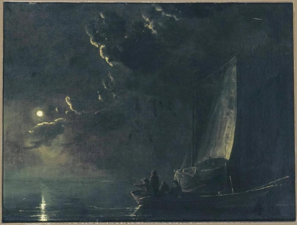 Aelbert Cuyp, Nehir Manzarası Mehtap Yolundan Balıkçılarla, Kanvas Tablo, Aelbert Cuyp, kanvas tablo, canvas print sales