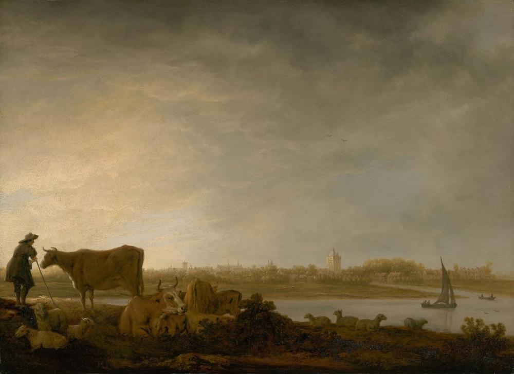 Aelbert Cuyp, A View of Vianen with a Herdsman and Cattle by a River, Canvas, Aelbert Cuyp