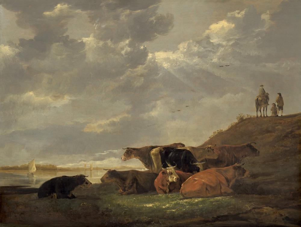 Aelbert Cuyp, Nehir Manzarası ile İnekler, Kanvas Tablo, Aelbert Cuyp