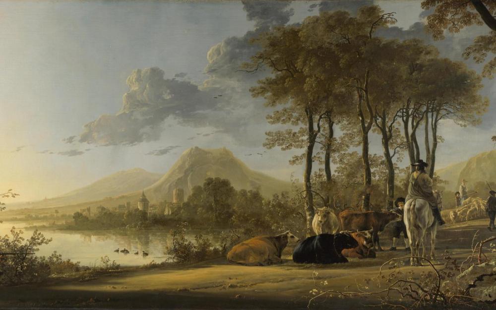 Aelbert Cuyp, Süvari ve Köylüler ile Nehir Manzarası, Kanvas Tablo, Aelbert Cuyp