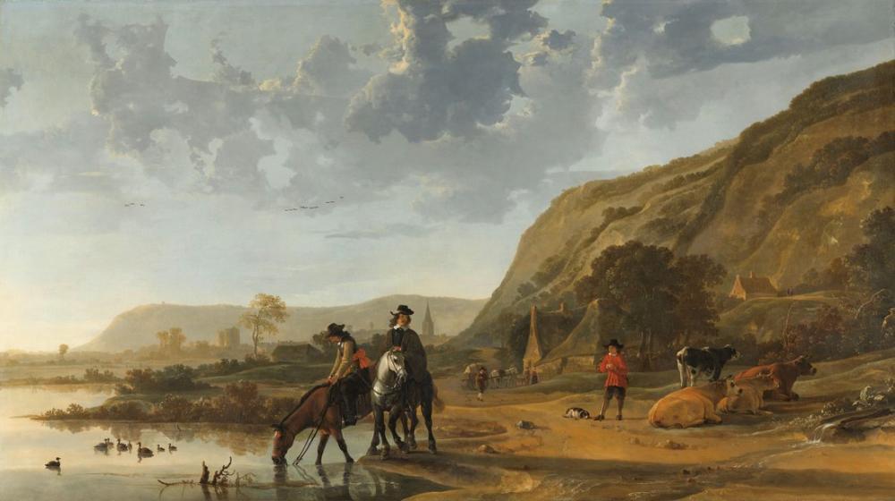 Aelbert Cuyp, Süvari ile Nehir Manzarası, Kanvas Tablo, Aelbert Cuyp, kanvas tablo, canvas print sales