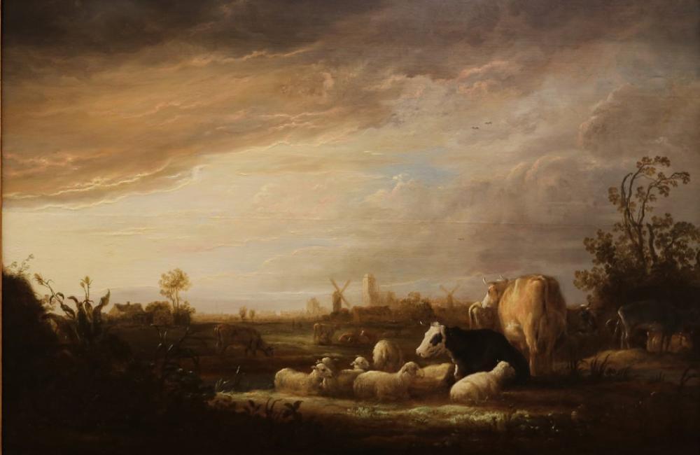 Aelbert Cuyp, Dordrecht'de Günbatımı ile Sığır, Kanvas Tablo, Aelbert Cuyp