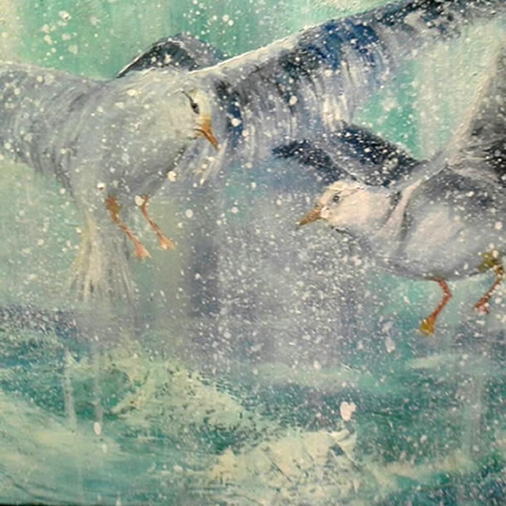 Seagulls, Original Paintings, Ahmet Kamil Akış, kanvas tablo, canvas print sales