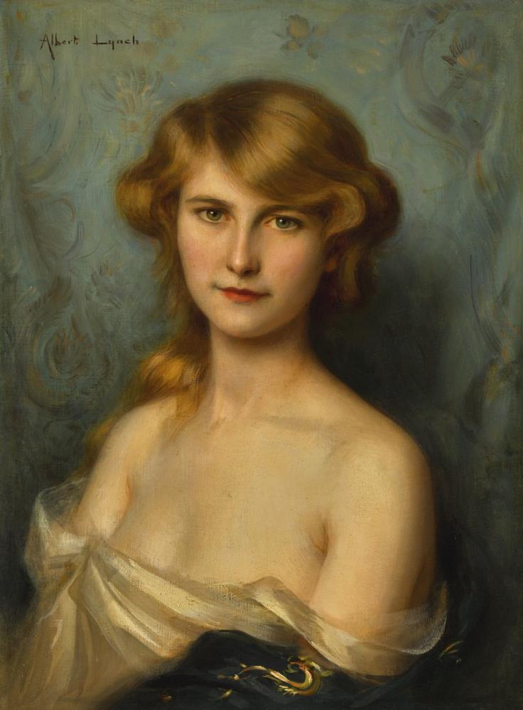 Albert Lynch A Beautiful Lady With Red Hair, Canvas, Albert Lynch
