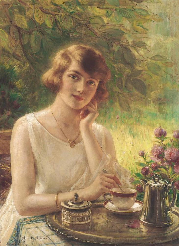 Albert Lynch A Girl Drinking Tea, Canvas, Albert Lynch