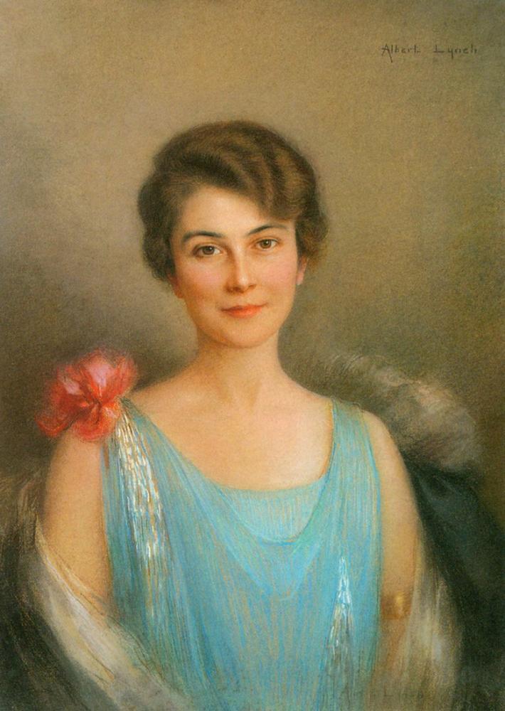 Albert Lynch Mavili Bir Kadının Portresi, Kanvas Tablo, Albert Lynch