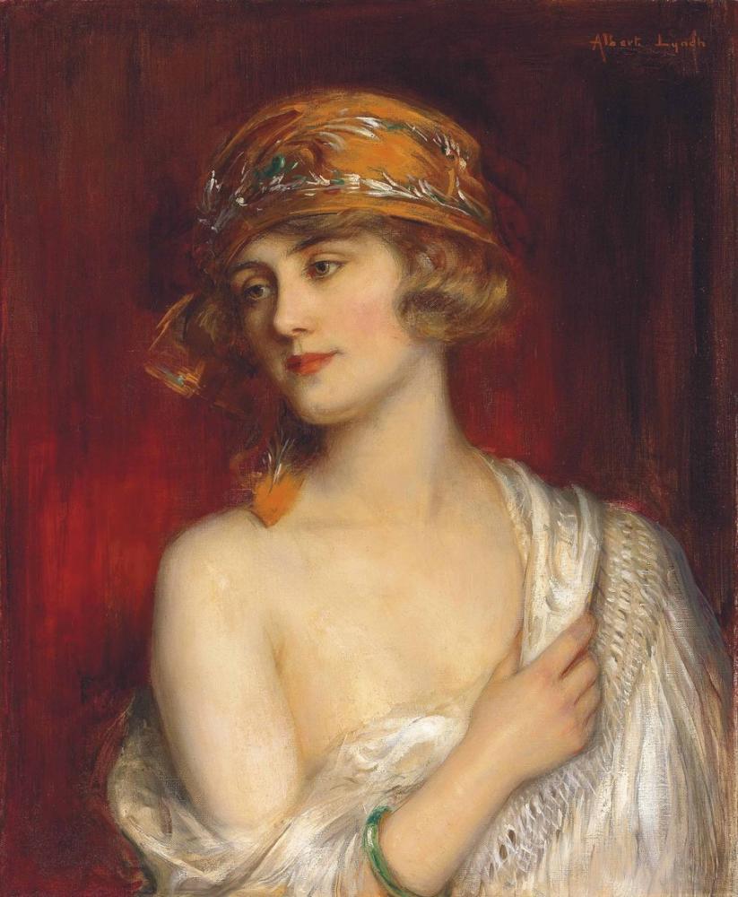 Albert Lynch Bir Genç Güzel Kız, Kanvas Tablo, Albert Lynch, kanvas tablo, canvas print sales