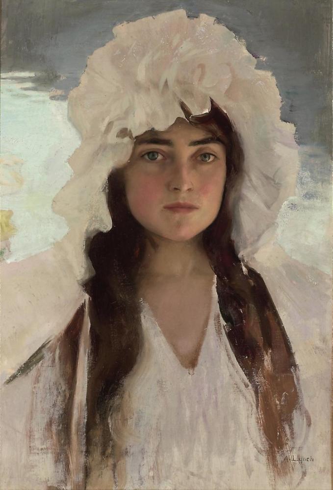 Albert Lynch Beyaz Bir Başlık Bir Kızın Portresi, Kanvas Tablo, Albert Lynch