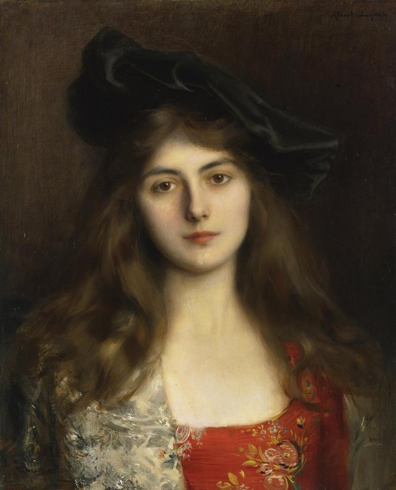 Albert Lynch Portrait Of A Young Woman, Canvas, Albert Lynch