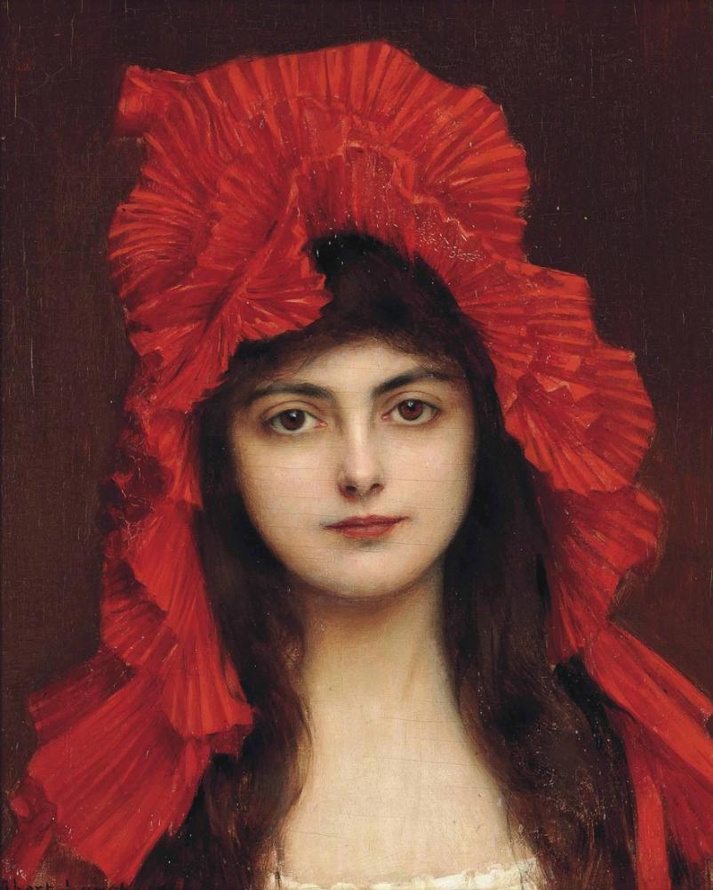 Albert Lynch The Red Bonnet, Canvas, Albert Lynch, kanvas tablo, canvas print sales
