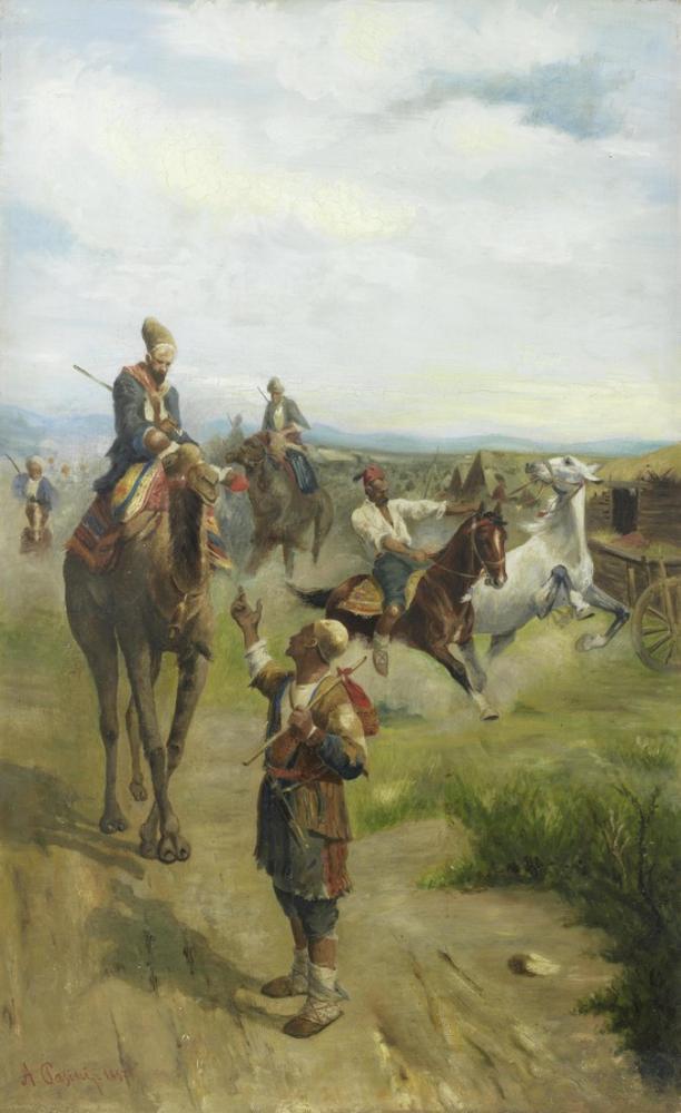 Alberto Pasini Arap Atlılar ile Manzara, Oryantalizm, Alberto Pasini, kanvas tablo, canvas print sales