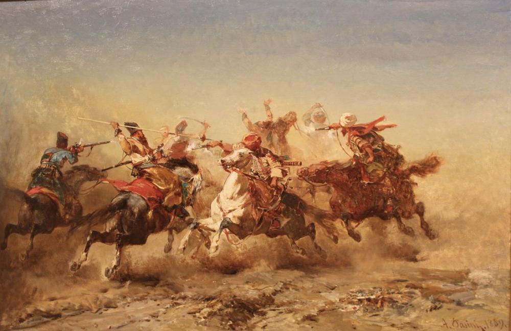 Alberto Pasini Spirited Conflict, Orientalism, Alberto Pasini, kanvas tablo, canvas print sales