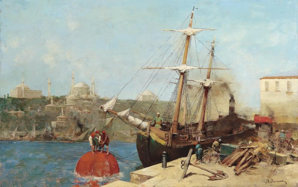 Alberto Pasini At The Golden Horn, Orientalism, Alberto Pasini, kanvas tablo, canvas print sales