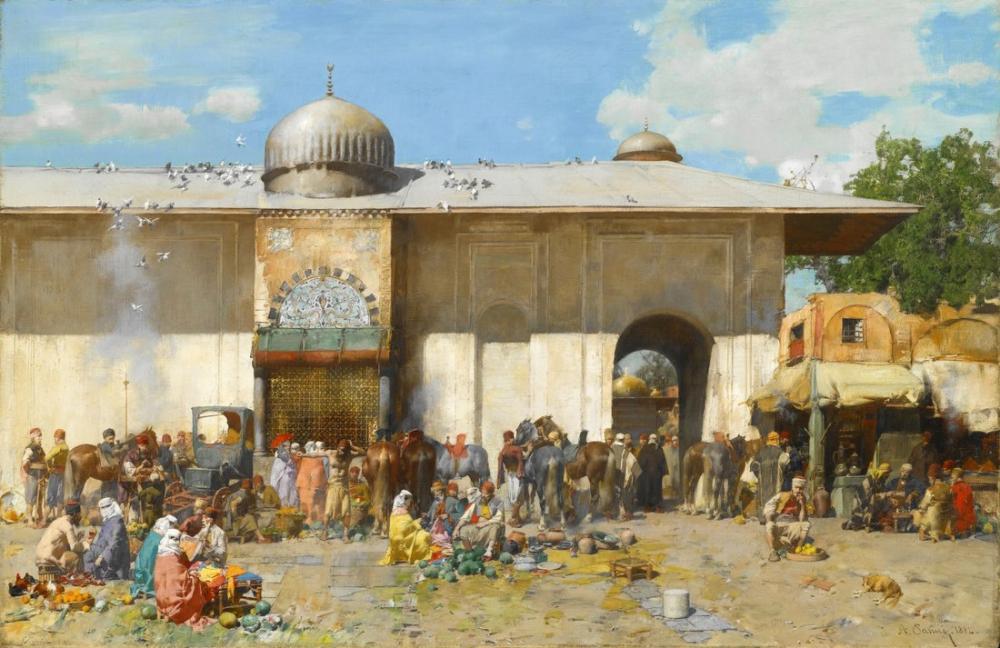 Alberto Pasini A Market Scene, Orientalism, Alberto Pasini, kanvas tablo, canvas print sales