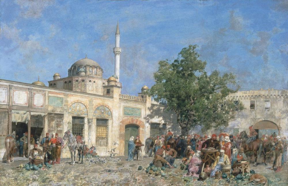 Alberto Pasini Constantinople Market, Orientalism, Alberto Pasini, kanvas tablo, canvas print sales