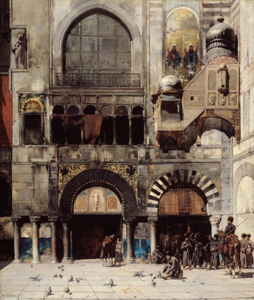 Alberto Pasini Doğu Bizans Anıtı Kapısında Komutanlarını Bekleyen Çerkez Süvarileri, Oryantalizm, Alberto Pasini