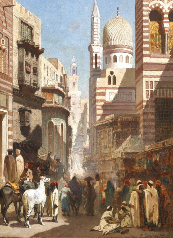 Alberto Pasini Al Khudayari Caddesi Kahire, Oryantalizm, Alberto Pasini, kanvas tablo, canvas print sales