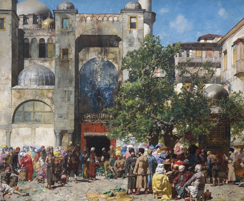 Alberto Pasini Doğudaki Pazar, Oryantalizm, Alberto Pasini, kanvas tablo, canvas print sales