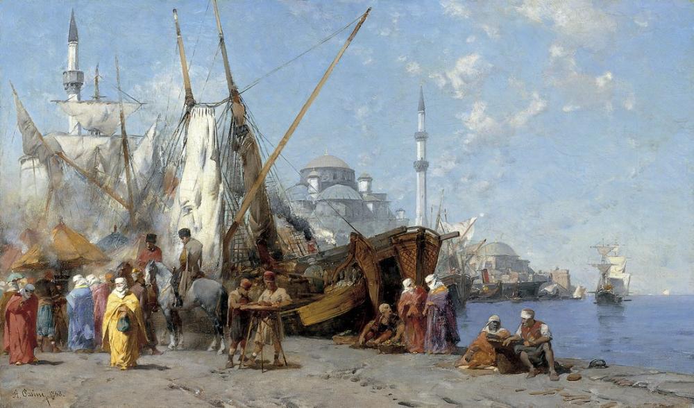 Alberto Pasini Pazar İstanbul, Oryantalizm, Alberto Pasini, kanvas tablo, canvas print sales