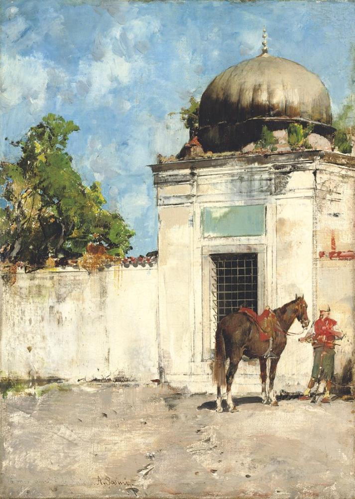 Alberto Pasini The Sentinel, Orientalism, Alberto Pasini, kanvas tablo, canvas print sales