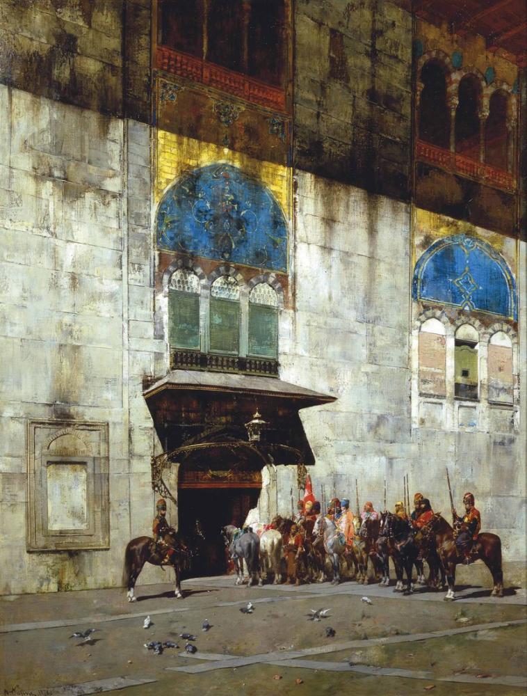 Alberto Pasini Paşalar Eskort, Oryantalizm, Alberto Pasini, kanvas tablo, canvas print sales
