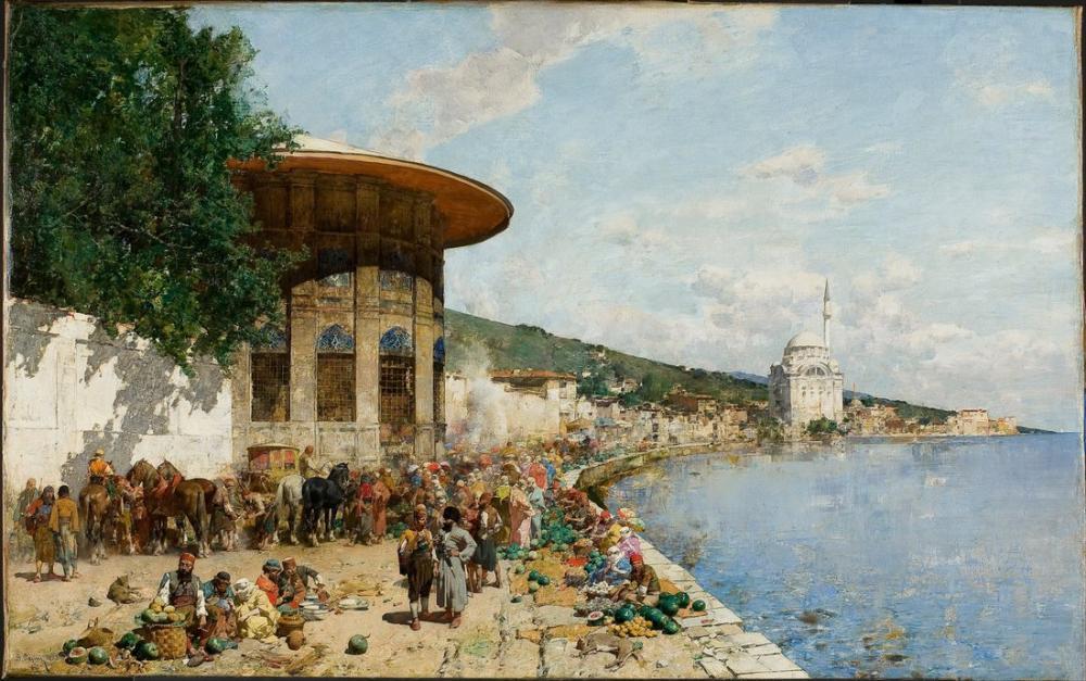 Alberto Pasini Konstantinopolis Pazar Günü, Oryantalizm, Alberto Pasini, kanvas tablo, canvas print sales