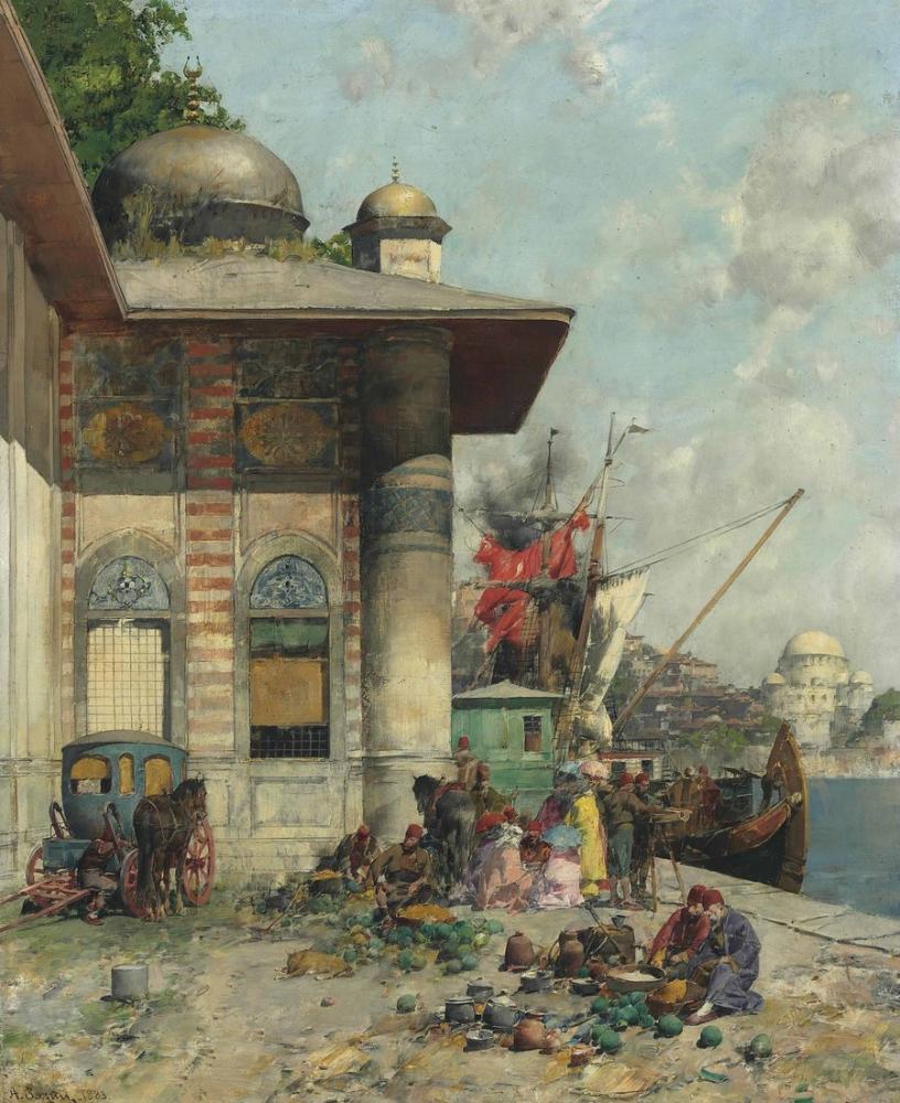 Alberto Pasini Market Day A Capriccio Of The Old City Shores Constanti, Orientalism, Alberto Pasini, kanvas tablo, canvas print sales