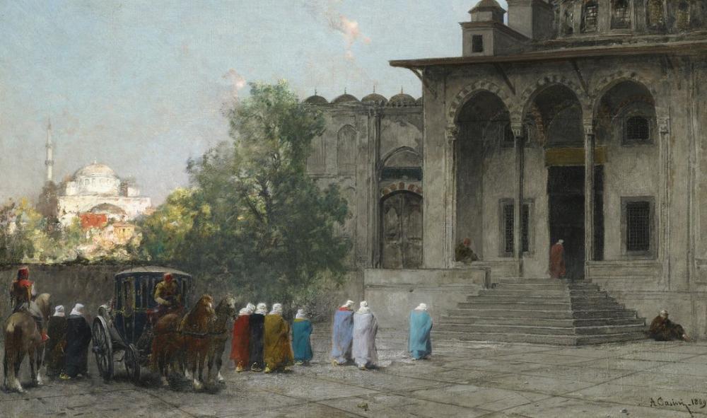 Alberto Pasini Osmanlı Kadınlar Camide İstanbul, Oryantalizm, Alberto Pasini