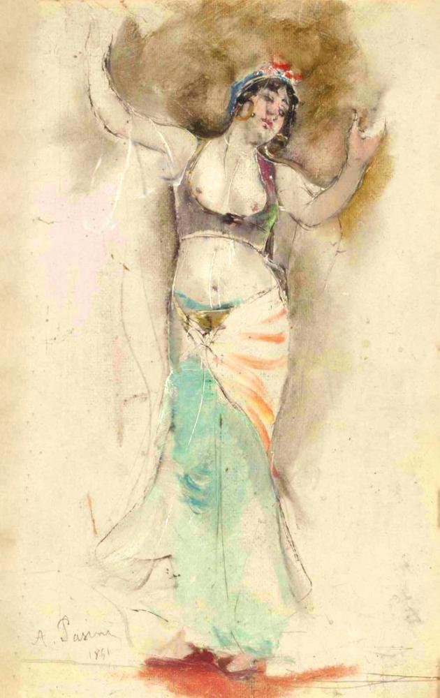 Alberto Pasini Oryantal Dansçı, Oryantalizm, Alberto Pasini, kanvas tablo, canvas print sales