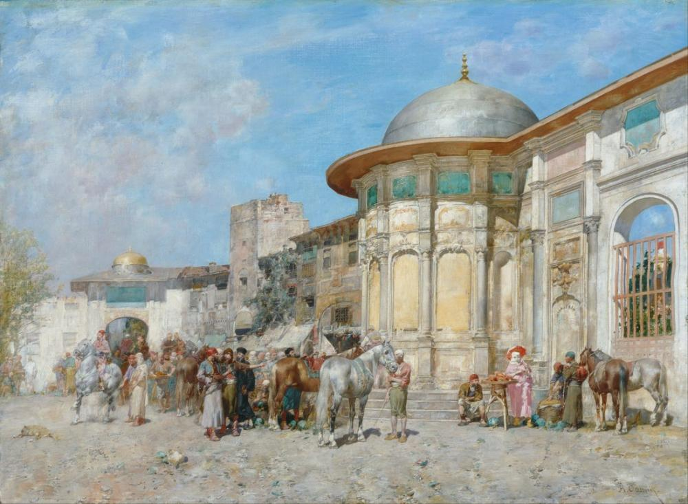 Alberto Pasini At Pazarı Suriye, Oryantalizm, Alberto Pasini, kanvas tablo, canvas print sales