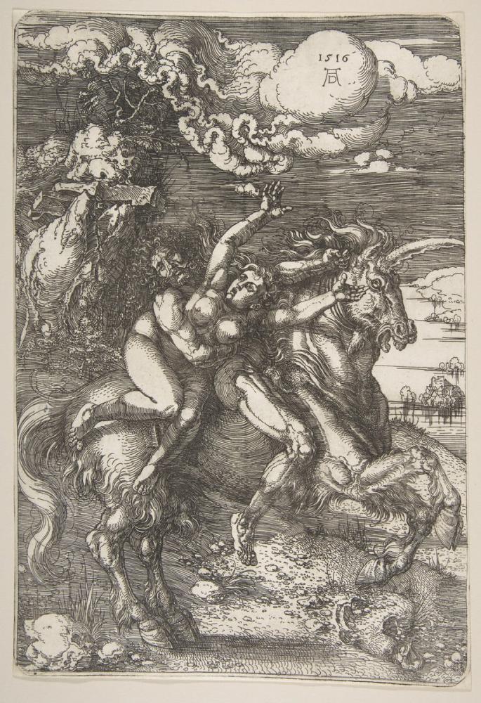 Albrecht Dürer Tek Boynuzlu At Proserpine Kaçırma, Kanvas Tablo, Albrecht Dürer